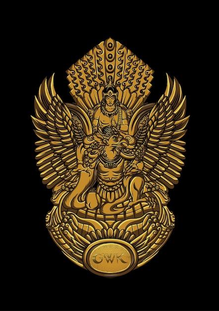 ヴィシュヌ神の像 Premiumベクター