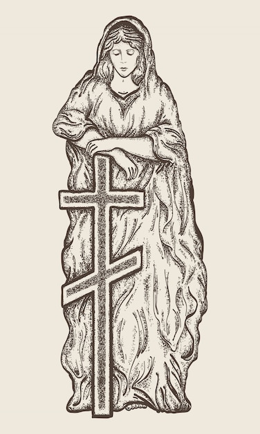 Statue of virgin mary with a cross Premium Vector
