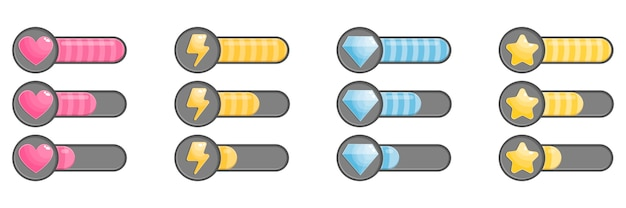 Status icons with filling process, loading bar. Premium Vector