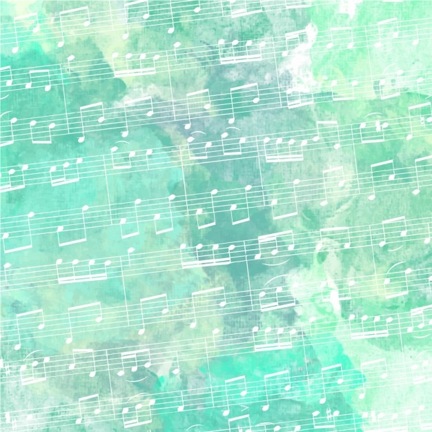 Stave with green watercolor background Free Vector