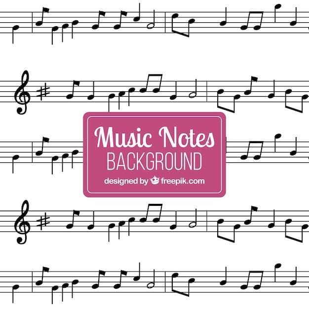 Sfondo con note musicali Vettore gratuito