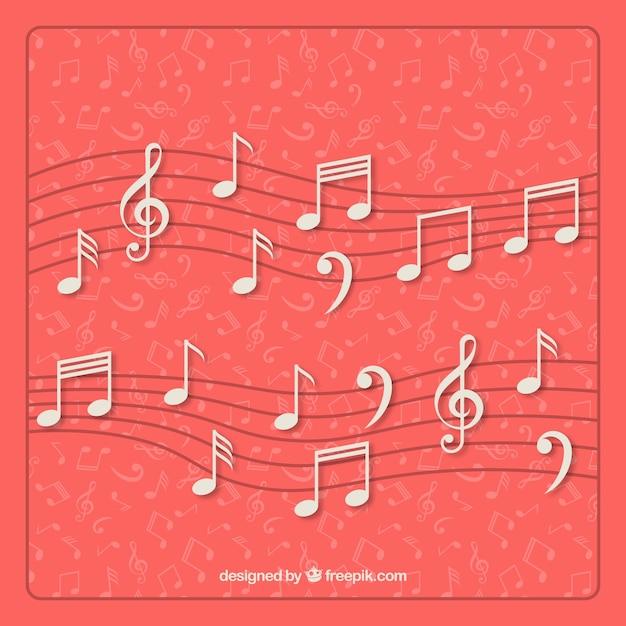 Doghe con belle note sottofondo musicale Vettore gratuito