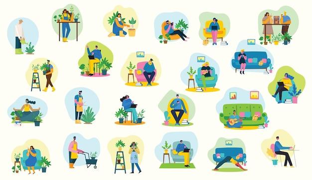 집에 머물면서 일하십시오. 가정에서 부모와 자녀, 디지털 장치 사용, 책 읽기 및 기타 연주. 평면 디자인에 취미 Infographic 디자인 요소 벡터 일러스트 레이 션 프리미엄 벡터
