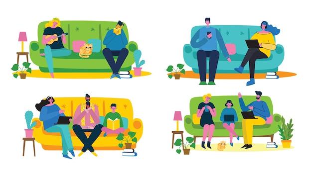 Оставайся и работай дома. родители и ребенок дома и с помощью цифрового устройства Premium векторы