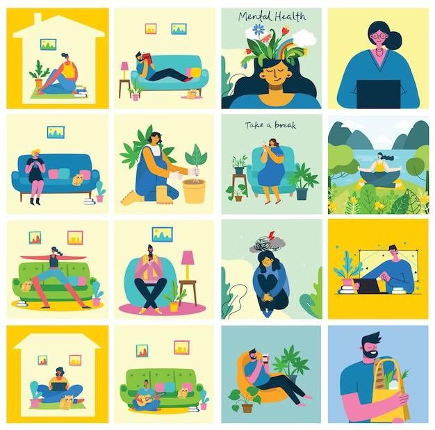 在宅勤務。家にいてさまざまな活動をしている人々:ソファに座る、ジャンプする、仕事をする、祝う、遊ぶ、スポーツをする、家で読む。フラットスタイルのカラフルでモダンなイラストのコラージュ。 Premiumベクター