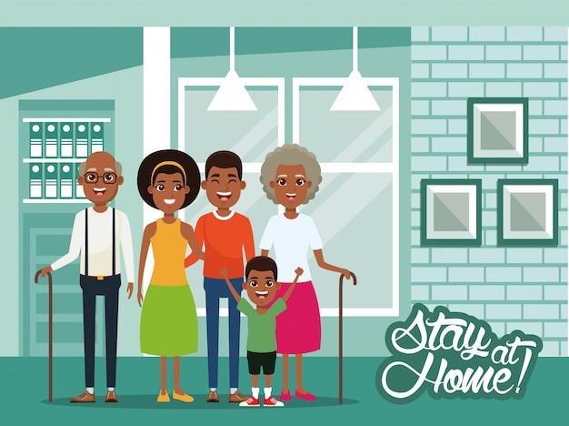 아프리카 가족과 함께 집에서 캠페인 프리미엄 벡터
