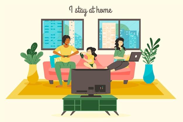 Оставайтесь дома, концепция семьи Premium векторы