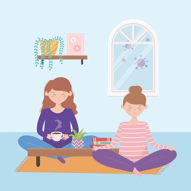 Сиди дома, беременная женщина и девушка сидят на полу Premium векторы