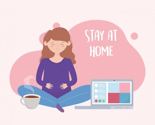 Сиди дома, беременная женщина онлайн йога Premium векторы