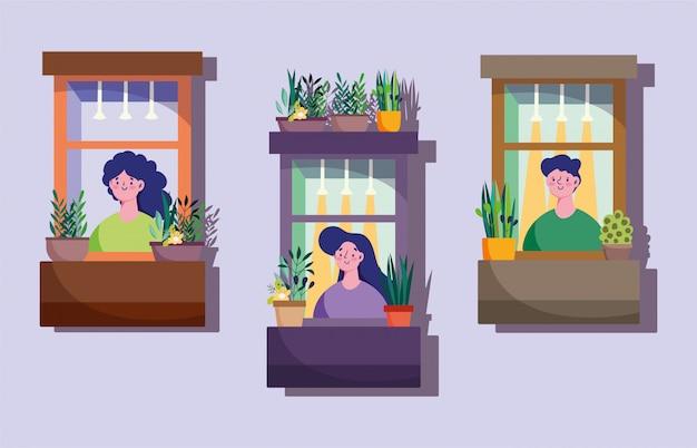Карантин дома, фасад с соседями в окнах, иллюстрация декоративных растений в горшках Premium векторы
