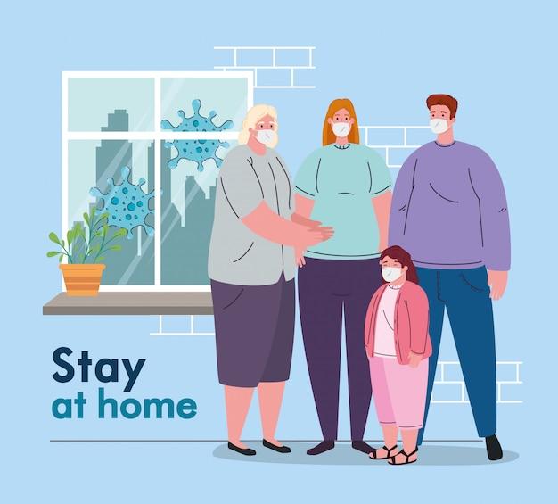 Пребывание дома, карантин или самоизоляция, семья, носящая медицинскую маску, концепция профилактики и здоровья Premium векторы