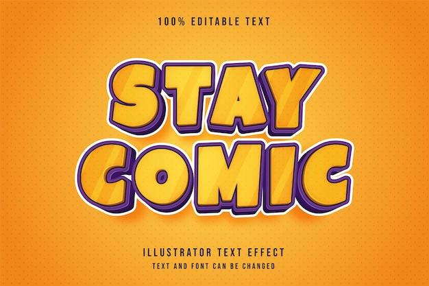 コミックにとどまる、3d編集可能なテキスト効果黄色のグラデーションオレンジ紫のコミックスタイルの効果 Premiumベクター