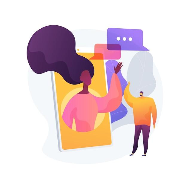 사람들이 추상적 인 개념 벡터 일러스트 레이 션에 연결 상태를 유지하십시오. 자기 고립, 소셜 미디어 연결, 친구 모임, 온라인 커뮤니케이션, 사회적 거리, 집에서 추상적 인 은유. 무료 벡터