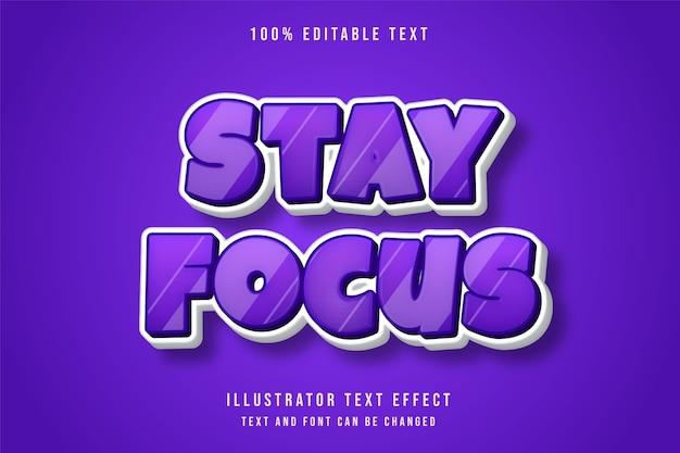 フォーカスを維持、3d編集可能なテキスト効果紫グラデーションコミックスタイル効果 Premiumベクター