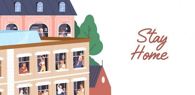 Оставайтесь дома концепции. люди изоляции, коронавирус карантин горизонтальный баннер. мужчины и женщины проводят время в квартире во время пандемии. соседи в окнах. иллюстрация в плоском мультяшном стиле Premium векторы