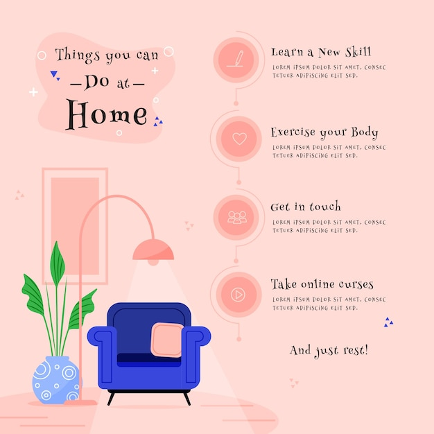 Stay at home concept with things to do Free Vector
