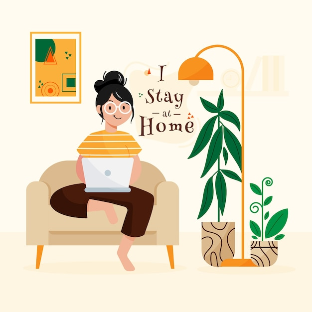 Stay at home concept | Free Vector