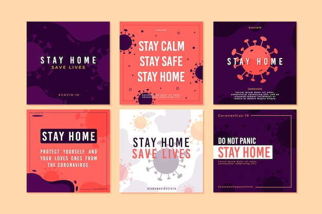 Stay at home event instagram post Free Vector