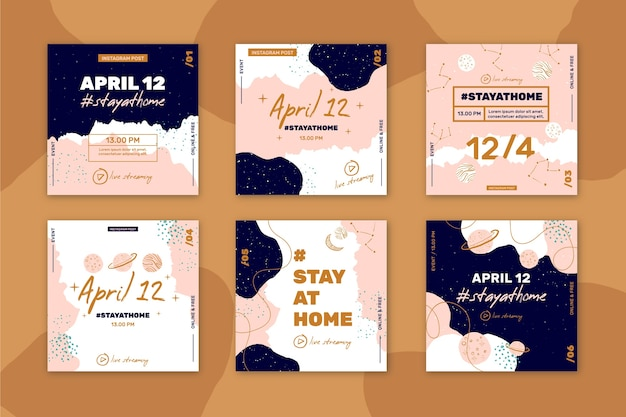 Stay at home event instagram posts Free Vector