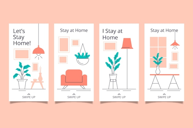 Stay at home event instagram story collection template Free Vector