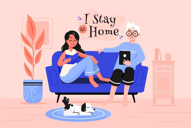 Stay at home illustration concept Free Vector