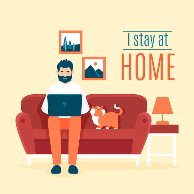 Stay at home illustration theme Free Vector