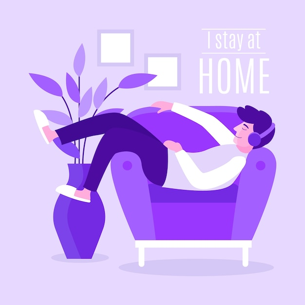 Stay at home illustration Free Vector