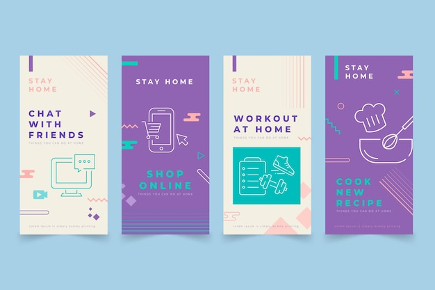 Stay at home instagram post template Free Vector