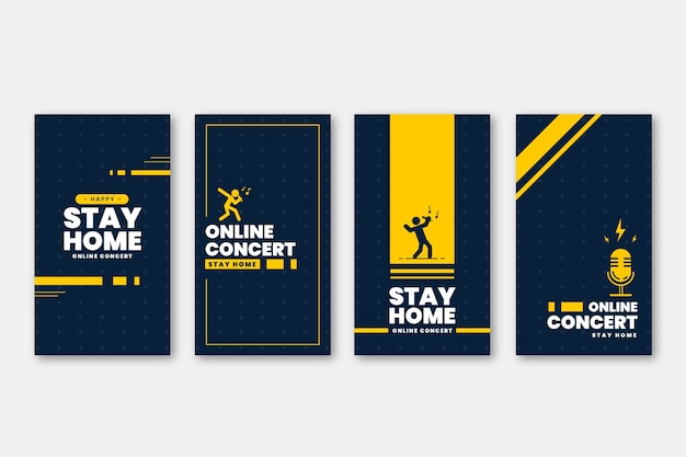Stay at home instagram stories template Free Vector