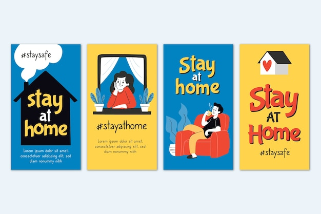 Stay at home instagram story collection Free Vector