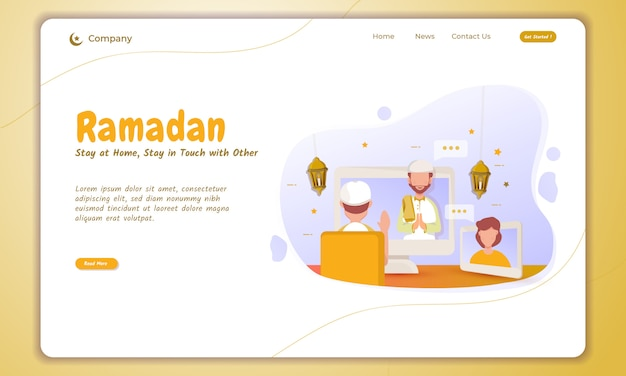 Stay at home and keep in touch with other when ramadan on landing page Premium Vector