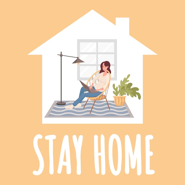 Stay home poster design. young happy woman sitting in comfortable chair and work distance on laptop. Premium Vector