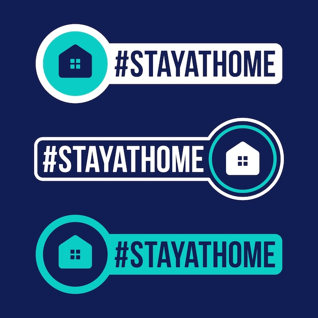 Stay at home prevention of covid-19 icon sticker   illustration. coronavirus protection badge with flat circle icon. Premium Vector