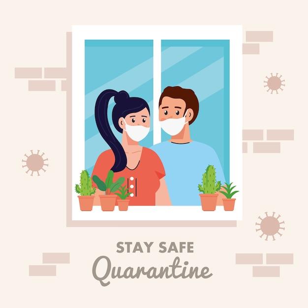 Оставайтесь дома, на карантине или в самоизоляции, фасад дома с окном и пара выглядывают из дома, оставайтесь безопасной концепцией карантина. Premium векторы