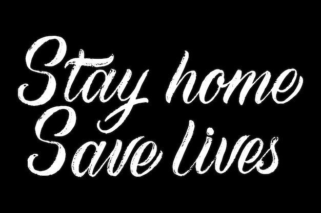 Stay at home save lives lettering Free Vector