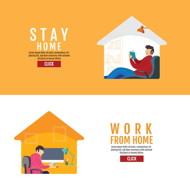 Stay home social distancing concept, work from home, protection covid-19 virus, people stay home,  illustration Premium Vector