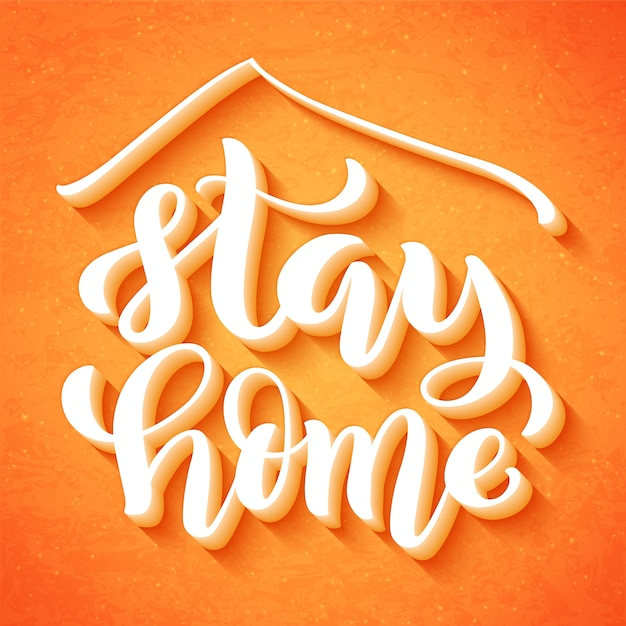 Stay at home and stay safe - handdrawn typography poster for self quarine times. health care concept for covid. home awareness social media campaign and coronavirus prevention. Premium Vector