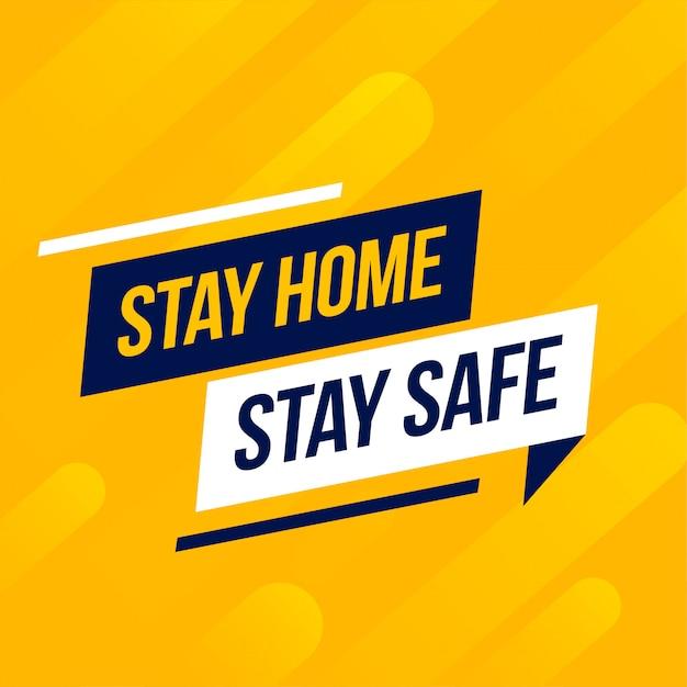黄色の背景に家にいて安全なメッセージ 無料ベクター