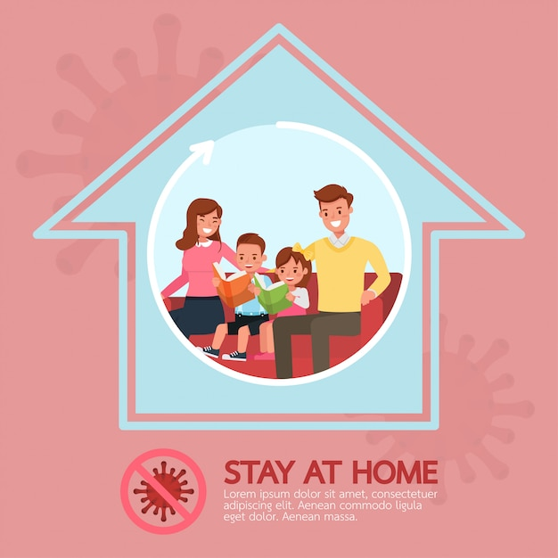 Stay at home, stop coronavirus concept character   design no2 Premium Vector