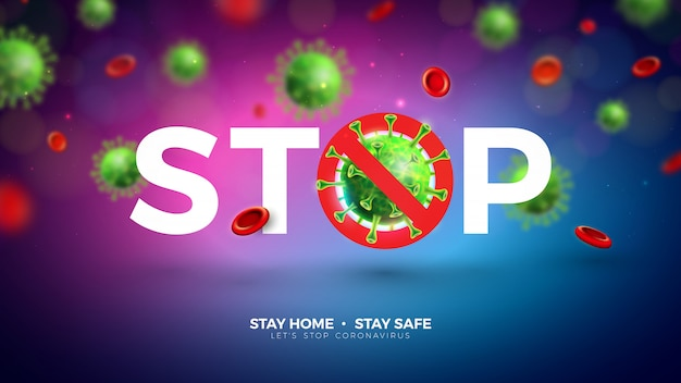 Stay home. stop coronavirus design with falling covid-19 virus cell on light background. vector 2019-ncov corona virus outbreak illustration. stay safe, wash hand and distancing. Free Vector