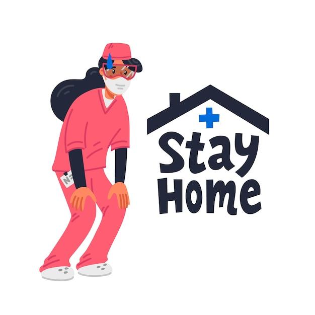 家にいる。ピンクのスクラブで疲れた若い看護師とホームサインを維持します。 Premiumベクター