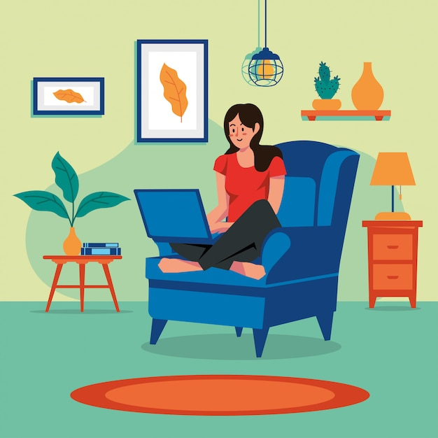 Stay at home woman family concept vector Premium Vector