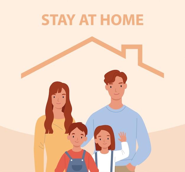 Остаться дома. молодая семья с двумя детьми остается дома. счастливые люди внутри дома. иллюстрация в плоском стиле Premium векторы