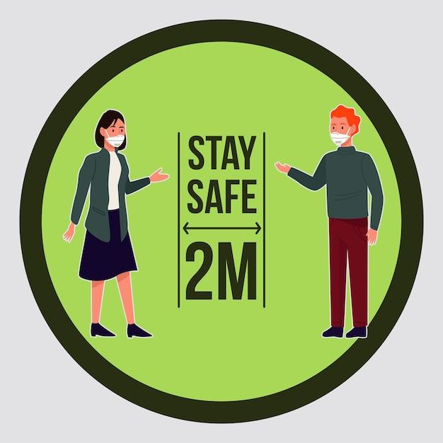 의료용 마스크를 쓴 부부와 함께하는 안전한 코로나 19 예방 캠페인 프리미엄 벡터