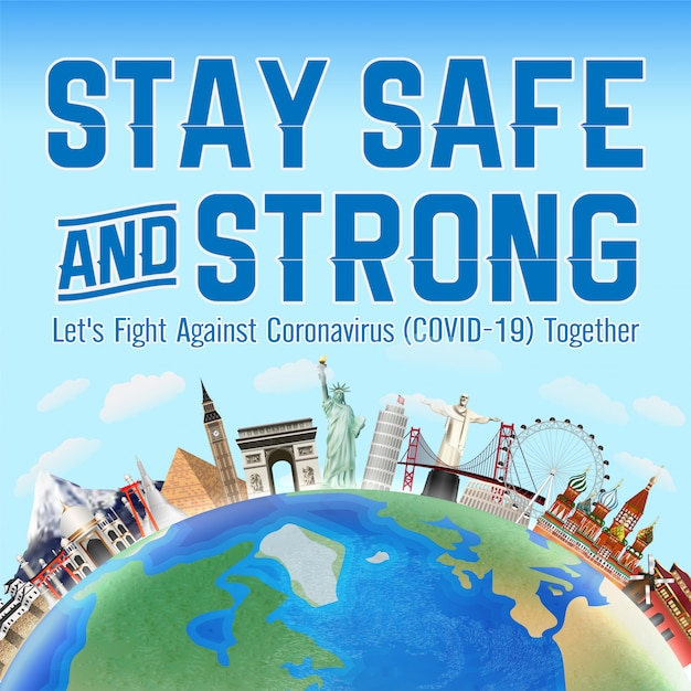 Premium Vector | Stay safe and strong fight coronavirus together