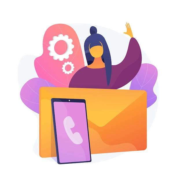 연락 유지. 현대적인 커뮤니케이션은 전화, 편지 및 이메일을 의미합니다. 이메일을 통해 친구 및 고객에게 연락하여 피드백을 장려하는 사람. 벡터 격리 된 개념은 유 그림 무료 벡터