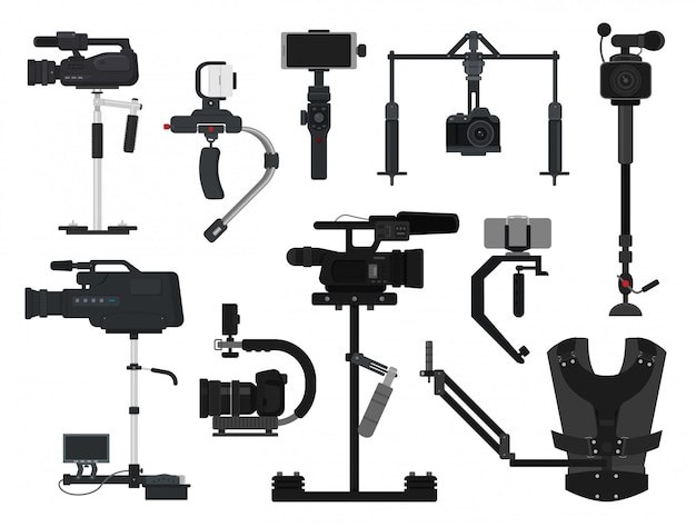 Steadicam vector video digital camera professional film equipment stabilizer set of photographer videographer movie technology production isolated Premium Vector