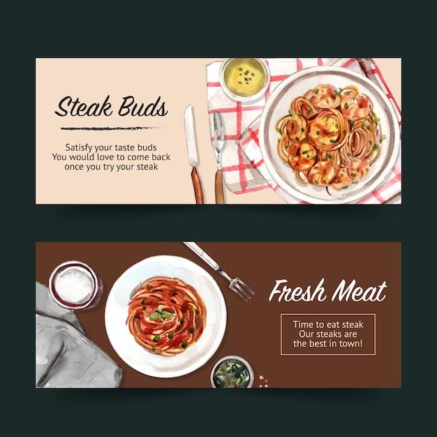 Progettazione dell'insegna della bistecca con gli spaghetti, illustrazione dell'acquerello dei tovaglioli. Vettore gratuito