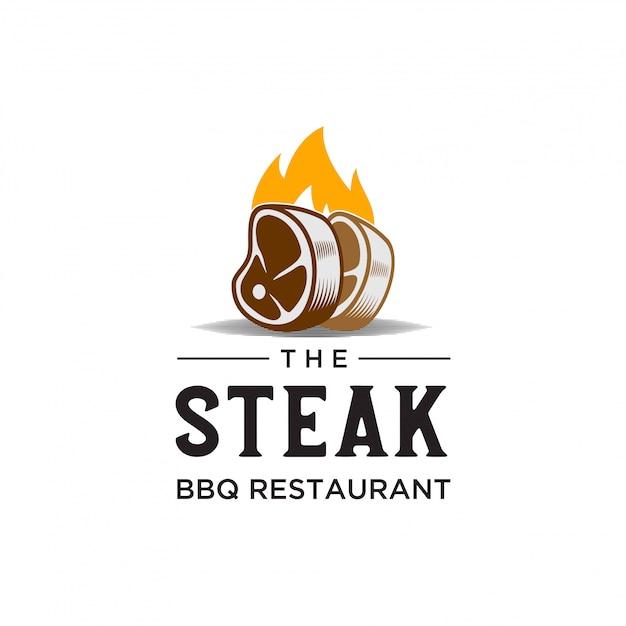 Steak bbq restaurant Premium Vector
