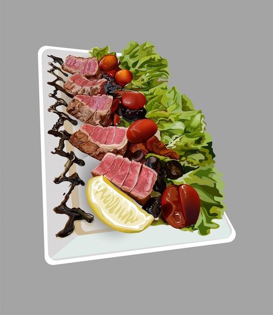 Steak for dinner Premium Vector